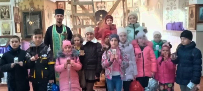 Занятие в день Торжества Православия в воскресной школе Свято-Рождественского храма  п. Первомайского